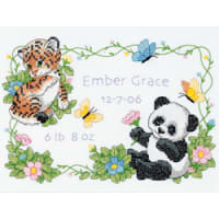"""Dimensions Baby Hugs Stamped Cross Stitch Kit 12""""X9""""-Baby Animals Birth Record"""