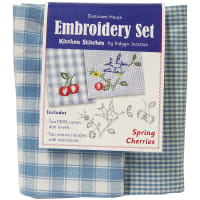 "Dunroven Kitchen Stitches Embroidery Tea Towel Set 20""X28""-Spring Cherries"