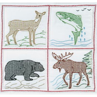 "Jack Dempsey Stamped White Quilt Blocks 18""X18"" 6/Pkg-Wilderness"
