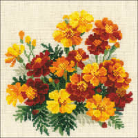 """RIOLIS Counted Cross Stitch Kit 7.75""""X7.75""""-Marigolds (14 Count)"""