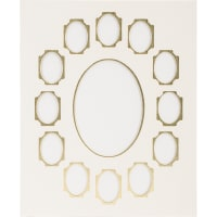 """Photo Mat 11""""X14"""" Double W/Multiple Openings-Ivory W/Gold"""