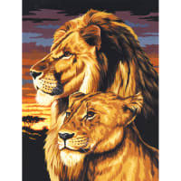 """Paint By Number Kit Artist Canvas Series 9""""X12""""-Lion & Lioness"""