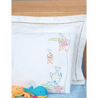 Jack Dempsey Children's Stamped Pillowcase W/Perle Edge-Fish At Play