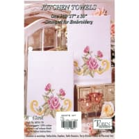"""Tobin Stamped For Embroidery Kitchen Towels 17""""X30"""" 2/Pkg-Floral Scroll"""
