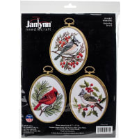 "Janlynn Embroidery Kit 3""X4"" Set of 3-Winter Birds-Stitched In Floss"
