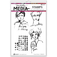 """Dina Wakley Media Cling Stamps 6""""X9""""-Positive Women"""