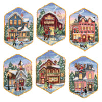 """Dimensions Gold Collection Counted Cross Stitch Kit 5"""" Long-Christmas Village Ornaments (18 Count)"""