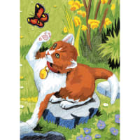 "Mini Color Pencil By Number Kit 5""X7""-Kitten & Butterfly"