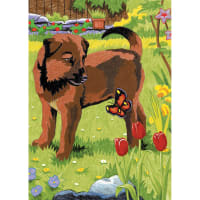 "Mini Color Pencil By Number Kit 5""X7""-Puppy & Butterfly"