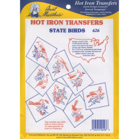 Aunt Martha's Iron-On Transfer Collection-50 State Birds