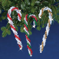 Nostalgic Christmas Beaded Crystal Ornament Kit-Crystal Candy Canes Makes 3