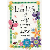 """Dimensions Mini Crewel Embroidery Kit 5""""X7""""-Live Life-Stitched In Thread"""