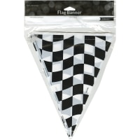 "Flag Banner 10""X12'-Black & White Check"