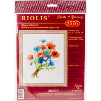 """RIOLIS Counted Cross Stitch Kit 6""""X7""""-Bouquet With Cornflowers (14 Count)"""