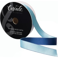 "Cascade Double Faced Satin Ribbon .875""X20yd-Light Blue/Navy"