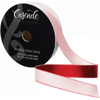 "Cascade Double Faced Satin Ribbon .875""X20yd-Pink/Red"