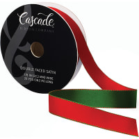 """Cascade Double Faced Satin Ribbon .875""""X20yd-Red/Green"""