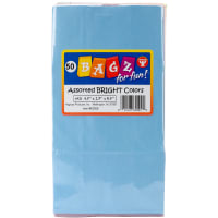 "Hygloss Gusseted Flat Bottom Bags 4.5""X2.5""X8.5"" 50/Pkg-Assorted Colors"