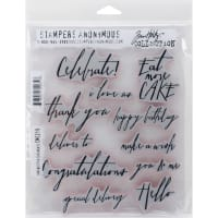 "Tim Holtz Cling Stamps 7""X8.5""-Handwritten Sentiments"