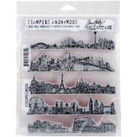 "Tim Holtz Cling Stamps 7""X8.5""-Cityscapes"
