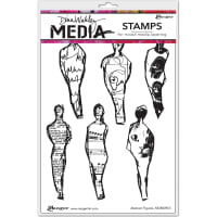 """Dina Wakley Media Cling Stamps 6""""X9""""-Abstract Figures"""