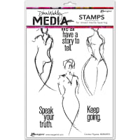 "Dina Wakley Media Cling Stamps 6""X9""-Contour Figures"