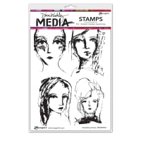 "Dina Wakley Media Cling Stamps 6""X9""-Interesting Faces"