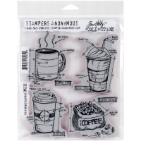 "Tim Holtz Cling Stamps 7""X8.5""-Fresh Brewed Blueprint"