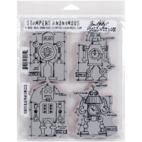 "Tim Holtz Cling Stamps 7""X8.5""-Robots Blueprint"