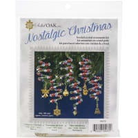 Nostalgic Christmas Beaded Crystal Ornament Kit-Ruby, Green & Gold Xmas Charmers Makes 6