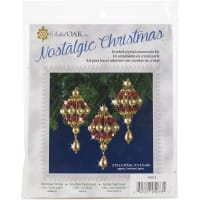 Nostalgic Christmas Beaded Crystal Ornament Kit-Ruby & Gold Baroque Drops Makes 4