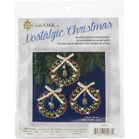 Nostalgic Christmas Beaded Crystal Ornament Kit-Ruby, Green & Gold Bell Wreaths