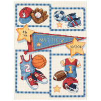 """Dimensions/Baby Hugs Counted Cross Stitch Kit 9""""X12""""-Little Sports Birth Record (14 Count)"""