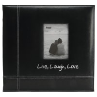 "Pioneer Embroidered Leatherette Post Bound Album 12""X12""-Live, Laugh & Love - Black"