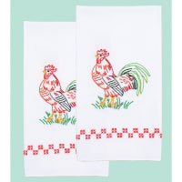 """Jack Dempsey Stamped Decorative Hand Towel Pair 17""""X28""""-Rooster"""