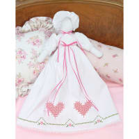 Jack Dempsey Stamped White Pillowcase Doll Kit-Chicken Scratch Hearts
