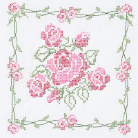 "Jack Dempsey Stamped White Quilt Blocks 18""X18"" 6/Pkg-Rose Bouquet"