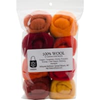"Wistyria Editions Wool Roving 12"" .25oz 8/Pkg-Fire"