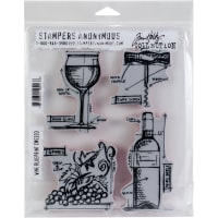 "Tim Holtz Cling Stamps 7""X8.5""-Wine Blueprint"