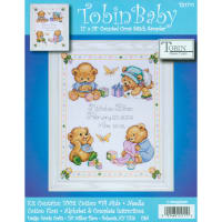 "Tobin Counted Cross Stitch Kit 11""x14""-Baby Bears Birth Record (14 Count)"