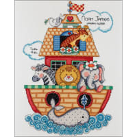"""Design Works Counted Cross Stitch Kit 11""""X14""""-Noah's Ark Birth Record (14 Count)"""