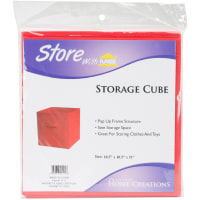 """Square Fabric Storage Cube 10.5""""X10.5""""X11""""-Red"""