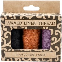 Lineco Waxed Linen 5 Ply Thread 3/Pkg-Lavender, Orange-Gold, Black; 20yd Each