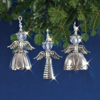 Holiday Beaded Ornament Kit-Vintage Angels Makes 3