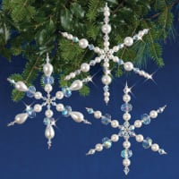 Holiday Beaded Ornament Kit-Sparkling Snowflakes Makes 3