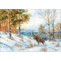 "RIOLIS Counted Cross Stitch Kit 15.75""X11""-Elk In A Winter Forest (14 Count)"