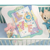 """Dimensions Baby Hugs Quilt Stamped Cross Stitch Kit 34""""X43""""-Zoo Alphabet"""