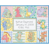 """Dimensions/Baby Hugs Counted Cross Stitch Kit 12""""X9""""-Zoo Alphabet Birth Record (14 Count)"""