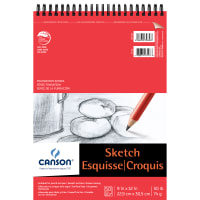 "Canson Foundation Series Spiral Sketch Pad 9""X12""-50 Sheets"