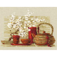 """RIOLIS Counted Cross Stitch Kit 11.75""""X9.5""""-Tea (14 Count)"""